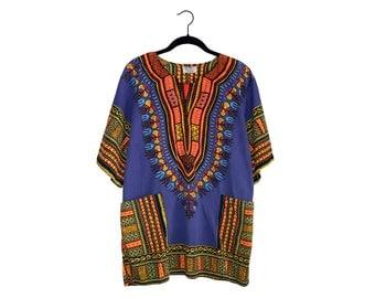 Vintage African Dashiki by National Shirts Purple Yellow & Orange, Made in Jamaica - Medium