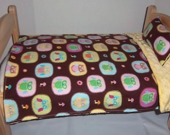 Closeout - Baby Doll Bedding Set - coverlet and pillow - adorable and colorful owls, flowers and mushrooms on brown