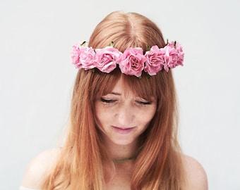Summer Pink Rose Flower Crown. Pink Flower Crown, Rose Headband, Flower Girl Heapiece, Floral Crown, Pink Rose Crown, Boho, Festival Style