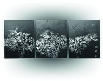 Triptych - Modern Abstract - Black and Metalic Silver painting Art - Silver Splash -  Original painting Canvas - 20 x 48 -Skye Taylor