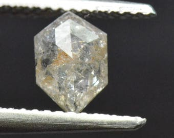 0.71ct 7.6mm hexagon VIDEO link irregular diamond salt pepper with cayenne hints 7.6 by 5.1 by 2.2mm