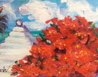 Bermuda white roof and poinciana tree original painting 4 x 6''