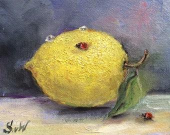 "Lemon with a ladybug Original Oil painting original art 5 x 7"""