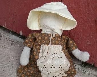 Doll, Primitive, Pioneer, Prairie, Handmade, Doll, Light Pencil Face, One of a Kind Original, Civil War, OFG