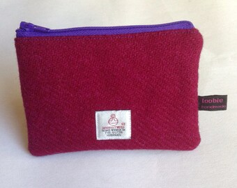 Bordeaux wine Harris Tweed coin purse, zipped coin pouch, change purse, scottish gift, friend gift