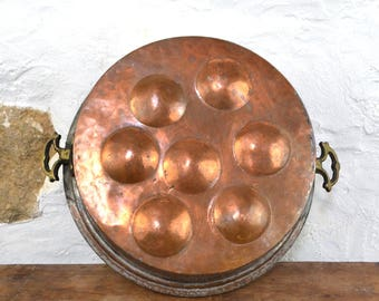 French Country Copper antique pan snails handmade kitchen decor