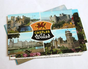 10 Vintage Wales United Kingdom Chrome Unused Postcards Blank - Unique Travel Wedding Guest Book, Reception Decor, Travel Journal Supplies