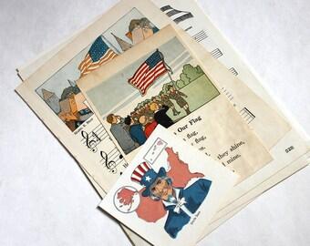 USA Patriotic Vintage Ephemera Collage Kit - Mixed Media, Collage, Altered Art, Assemblage, Scrapbooking, Junk Journal Supplies