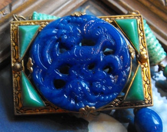 Czech Lapis blue and Peking green glass carved necklace  Deco necklace