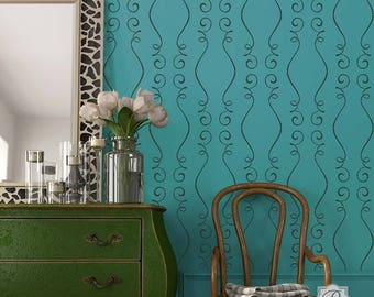 Gigi Modern Furniture Stencil - Paint Your Own Wallpaper Look for Nursery Decor, Kids Room, Bedroom Wall Mural
