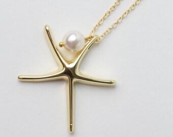 Gold Starfish Necklace, Bridesmaid Necklace, 14k Gold Filled Starfish Necklace, Beach wedding jewelry, Nautical wedding, Starfish Jewelry