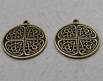 LuxeOrnaments Oxidized Brass Round Pendants 20mm (2 pc) F-A7488-1