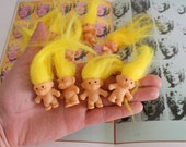 Vintage TROLLS Doll Pins..collectible. troll. 1980s. 1990s. kitsch. retro. vintage toys. crazy. hippie. happy birthday. princess. yellow