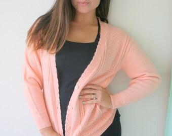 Vintage 1988 PEACH Pink Carigan Button Sweater...size medium..folk. free size. hippie. urban. boho. pink. spring. knit. retro. mod. sock hop
