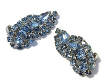 Vintage Kramer Earrings Light Blue Rhinestones 1950s Jewelry