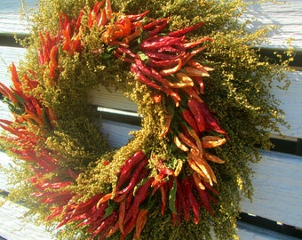 Dried Chile Pepper and Sweet Annie Wreath // 16-18 inch // Ready To Ship // Free Shipping