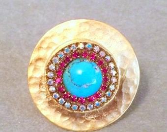 ON SALE Genuine turquoise and swarovski crystal ring
