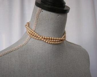 Faux Pearl Choker Necklace, Classic Champagne Triple Strand Necklace, Formal, Bridal Jewelry