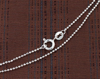 20 inches of 925 Sterling Silver Diamond Cut Beaded Chain, Necklace 1.2mm  :th2544-20
