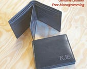 Personalized Men's Leather Wallet - Monogrammed Leather Wallet - Bifold or Trifold - Premium Leather