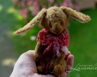 "Cole the Easter Bunny  Artist Handmade Bunny 6"" Natural Fiber Art Waldorf OOAK Bunny by Atelier Lavendel ECO Friendly Collectible"