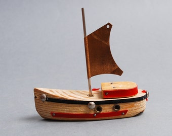 Vintage wooden toy, souvenir, tall ship, boat