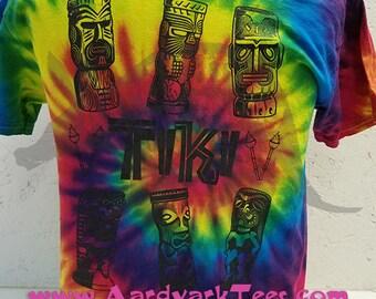 Tiki -- Tie-dyed t-shirt Polynesian