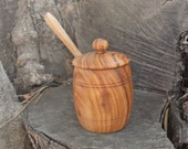 Mustard pot with spoon hand made from Greek Olive Wood