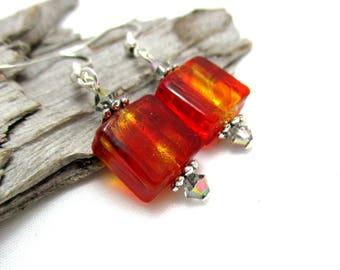 Red Venetian Glass Earrings - Glass Beaded Earrings with Swarovski Crystals - Earrings for Sensitive Ears