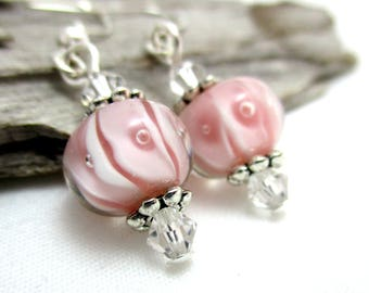Pink Lampwork Glass Earrings with Swarovski Crystals - Earrings for Sensitive Ears