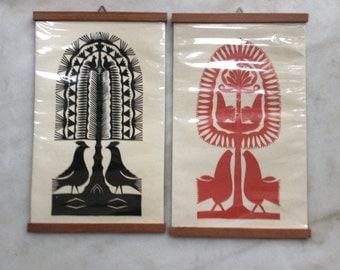 Pair of Vintage 1970s Polish Folk Paper Art Pictures Wycinanki | Original Handmade PaperCuts Wycinanki Polish Folk Art Collage Leluja Kurpie