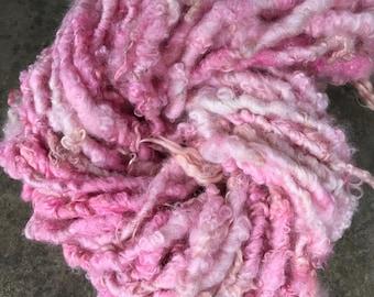 RESERVED Handspun Yarn Curly BFL Pinkie