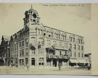 Cortland House N.Y. Postcard, Antique Ephemera c1910s, Upstate New York Hotel, FREE SHIPPING