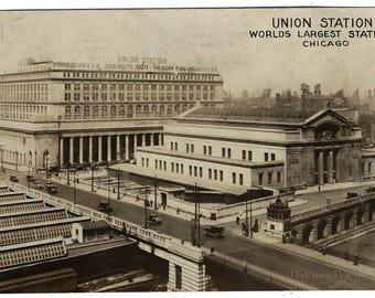 Chicago Union Station Real Photo Sepia Postcard, Antique 1928 RPPC Illinois Transportation Ephemera, Signs, FREE SHIPPING
