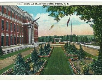 Utica NY Masonic Home Postcard, Upstate New York, View, Antique Ephemera c1915, FREE SHIPPING