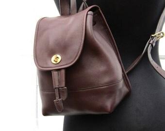 Vintage Coach Backpack in Oxblood Leather // 9960 // Rucksack