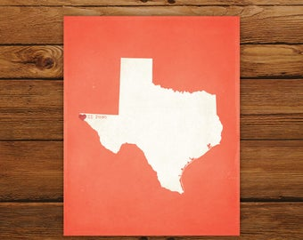 Customized Printable Texas State Map - DIGITAL FILE, Aged-Look Personalized Wall Art