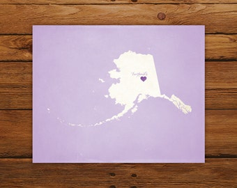 Customized Alaska State Art Print, State Map, Heart, Silhouette, Aged-Look Personalized Print