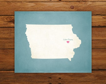 Customized Iowa State Art Print, State Map, Heart, Silhouette, Aged-Look Personalized Print