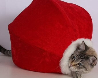 SALE Adorable red velvet Christmas pet bed with white fur trim and striped lining - the Cat Ball kitty cave for your furbabies