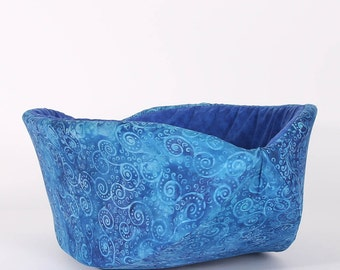 Cat Canoe Pet Bed in blue batik cotton fabric - kitty furniture made in USA