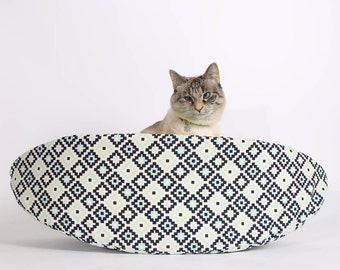 Cat Canoe Modern Cat Bed in Navy Geometric Cotton Fabric - kitty furniture made in USA - ready to ship