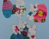 Vintage Cardboard Die Cut Easter Bunny, Groovy Colors, Set of THREE, Hallmark