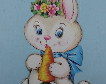 Vintage Cardboard Die Cut Bunny, Easter