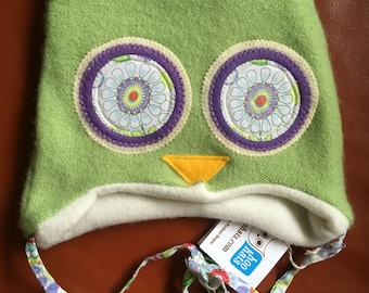 """Hoo Hat -Upcycled Wool Owl Hat -Size Extra Small (15-17"""" head)"""