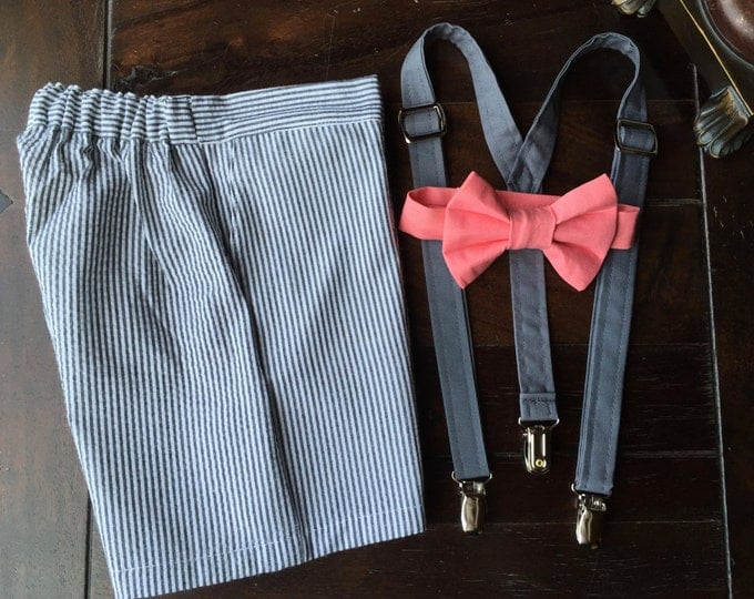 Cotton Seersucker Ring Bearer Outfit; 3 Piece Set, Ring Bearer Bow Tie, Ring Bearer Suspenders, and SHORTS. Wedding Outfit for Ringbearer