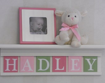 Personalized Baby Gifts | Pink, Light Pink and Light Green Letter Tiles on White Shelves