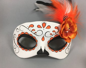 Orange Day of the Dead Swirl, Skull, and Flower Leather Masquerade Mask