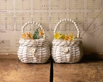 Pair of Vintage White Easter Sunday Purses - Woven Wicker Flower Girl Bags