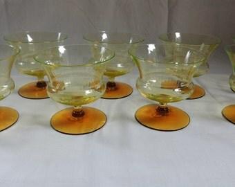 Utility Glass Works Nilotus Sherbet Glasses – Set of 9 / RARE Vaseline Glass with Amber Feet / Uranium Glass / Champagne Glasses
